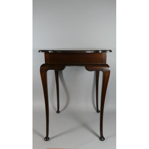 24 - An Edwardian Mahogany Scalloped Square Topped Occasional Table with Cabriole Legs, 9cm wide...