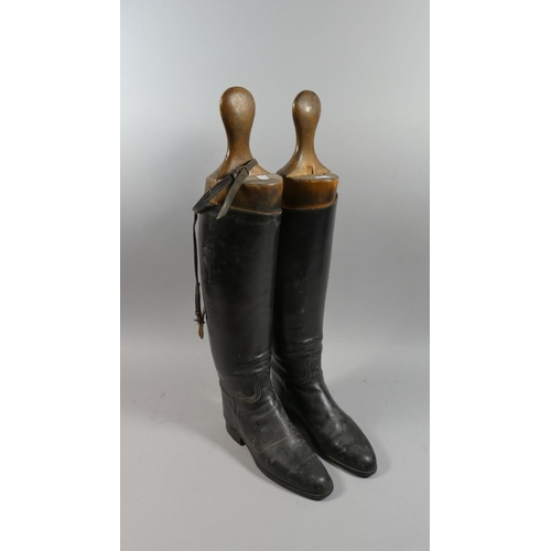 25 - A Pair of Ladies Riding Boots with Wooden Trees...