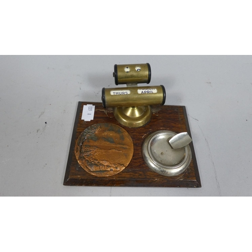 4 - A Mid to Late 20th Century Desk Work Tidy with Metal Inkwell/Ashtray and Rest, Mounted Plaque of Lan...