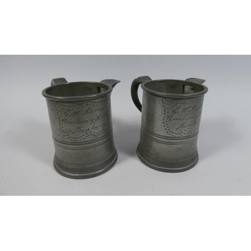 2 - A Pair of 19th Century Pint Pewter Tankard Jug Measures Inscribed For The Shrewsbury Hotel, Ironbrid...