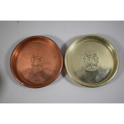 22 - Two Circular Metal Dishes by Henry Jenkins & Sons for the Royal Exchange Insurance Company, 11cm Dia...