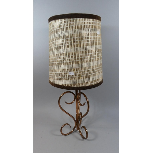 47 - An Early 20th Century Wrought Copper Table Lamp with Shade...