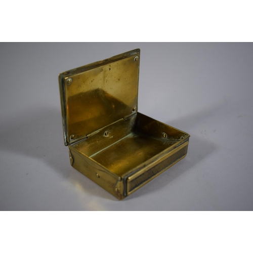 18 - A Brass Desk Top Vesta with Hinged Lid, 8.5cm Long...