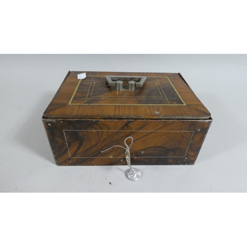 2 - A Scumble Glazed Metal Cash Box with Key, 20cm Wide...