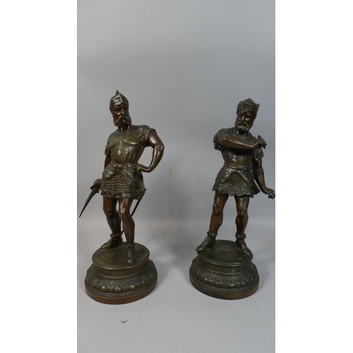 37 - A Pair of Bronzed Spelter Figures of Warriors in Armour Each 35cm High...