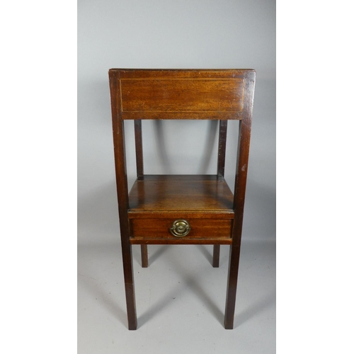 41 - A 19th Century Mahogany Gentleman's Washstand with Centre Drawer on Square Supports, 76cm High...