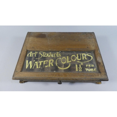 60 - A Vintage Advertising Stand Base for Art Student Watercolours, with Pull Out Fitted Drawer, In Need ...