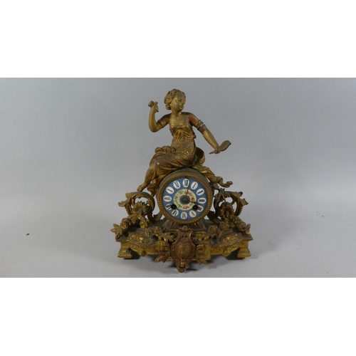 9 - A French Ormolu Figural Mantle Clock with Sevres Style Circular Dial, Maidens Arm AF, Barrel Movemen...