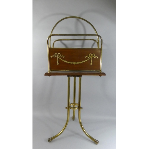 26 - An Edwardian Brass and Mahogany Raised Magazine Rack with Adam Style Swag Decoration. 74cms High...