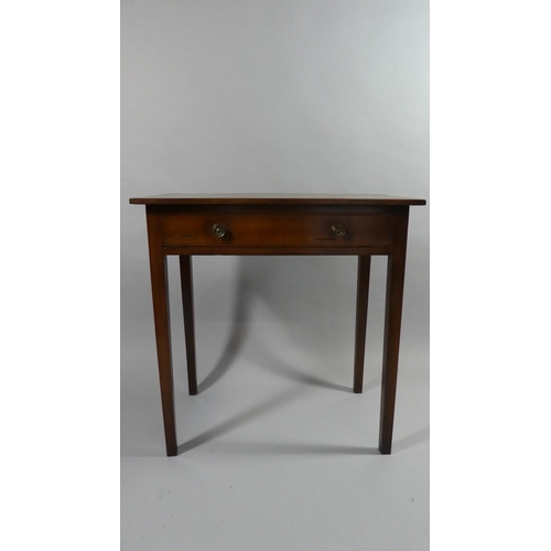 29 - A Late 18th Century George III Cherry Wood Side Table with a Plank Top over a Single Drawer Supporte...
