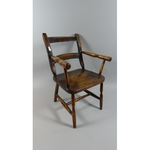 34 - A 19th Century Primitive Country Made Childs Arm Chair. 33x45cms High...