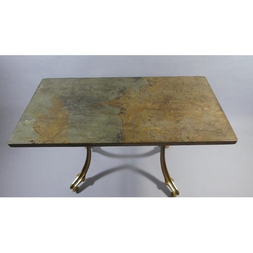 41 - A Mid 20th Century French Centre Table with a Solid Slate Top Supported on Four Gilt Metal Outswept ...