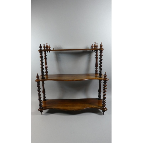 43 - A Set of Early 19th Century William IV Rosewood Hanging Wall Shelves with Three Serpentine Fronted S...