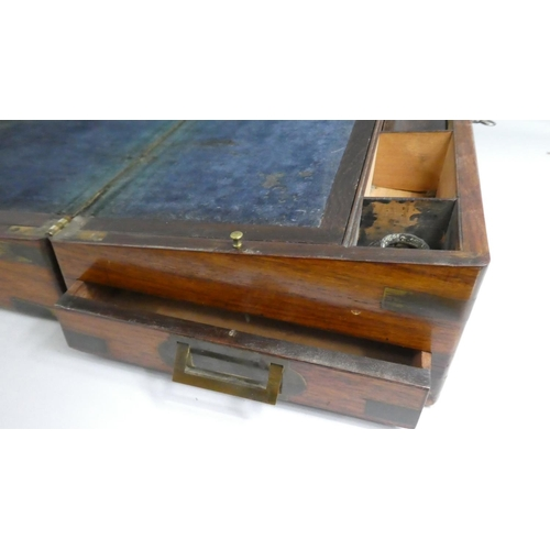5 - A 19th Century Mahogany Campaign Writing Slope with Inset Brass Carrying Handles and Secret Drawer. ...