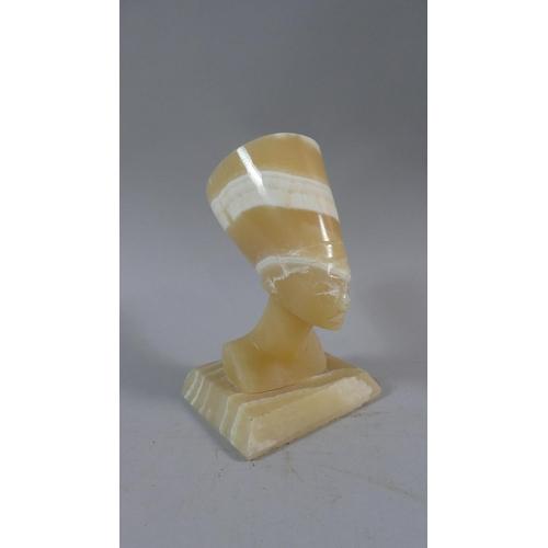 24 - A Carved Blonde Onyx Study of Egyptian Pharaoh on Rectangular Plinth, 17cm High...