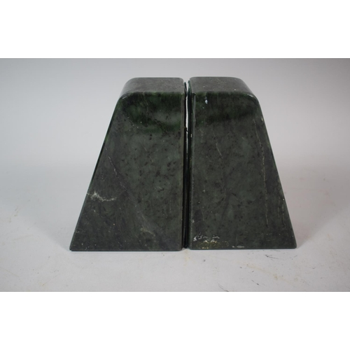 26 - A Pair of Green Marble Book Ends, 13cm High...