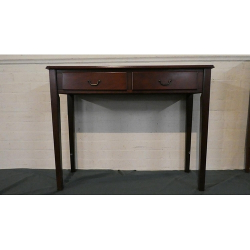 28 - A Mahogany Reproduction Two Drawer Side Table of Square Tapering Legs, 94cm Wide...