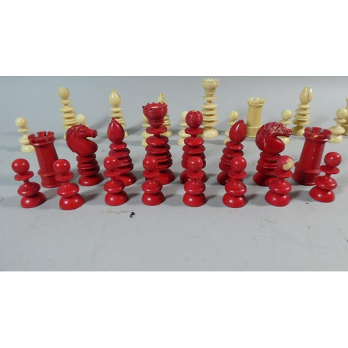 32 - A Full Set of Late 19th Century Ivory Chess Pieces, the Kings 8.5cm High, Stained Red and Natural...