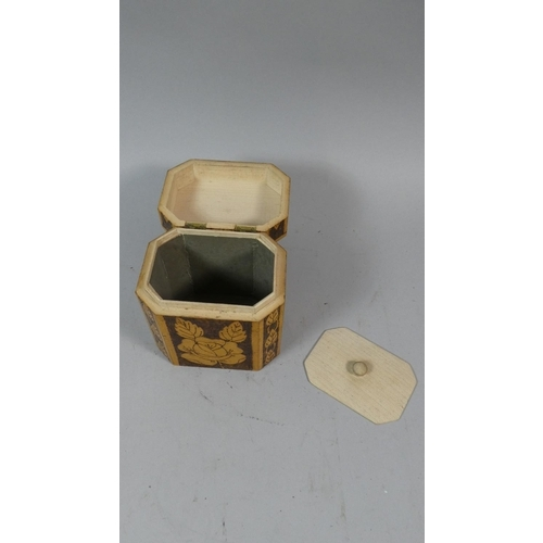15 - A Poker Work Tea Caddy with Hinged Lid, Inner Lid and Decorated with Flowers, 13cm High...