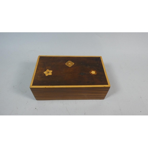 1 - An Inlaid Wooden Rectangular Puzzle Box, 17cm Long...