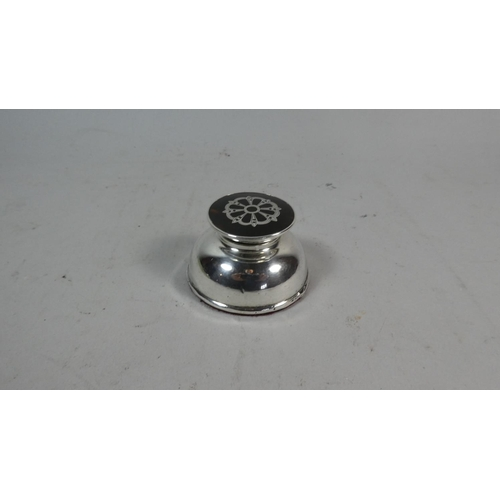 10 - A Silver and Tortoiseshell Circular Inkwell, 6cm Diameter...