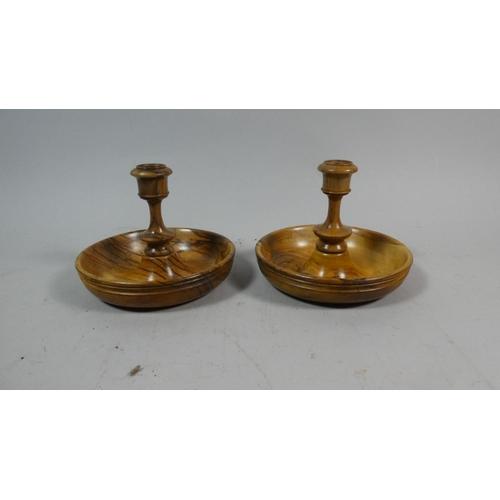 13 - A Pair of Olive Wood Circular Brighton Bun Travelling Candlesticks, 12cm Diameter...
