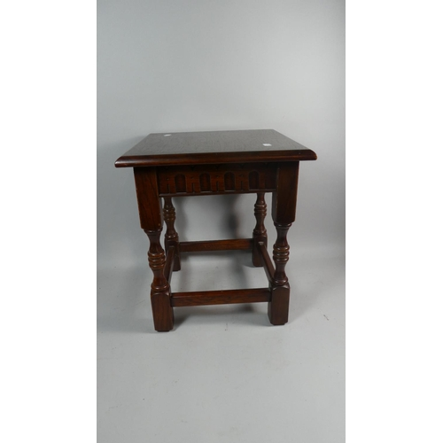 15 - An Oak Square Topped Occasional Table, 41cm High...