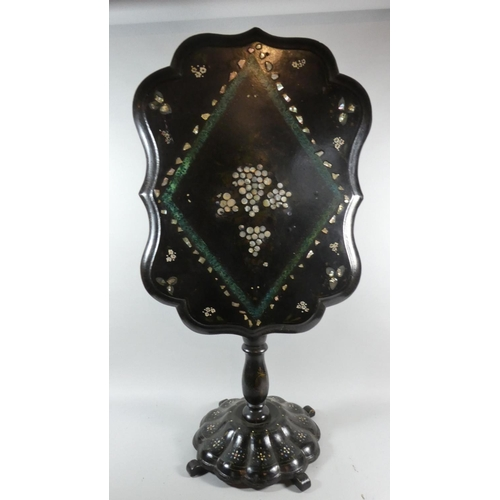 16 - A Victorian Mother of Pearl Inlaid Papier Mache Snap Top Table on Circular Scalloped Base with Four ...