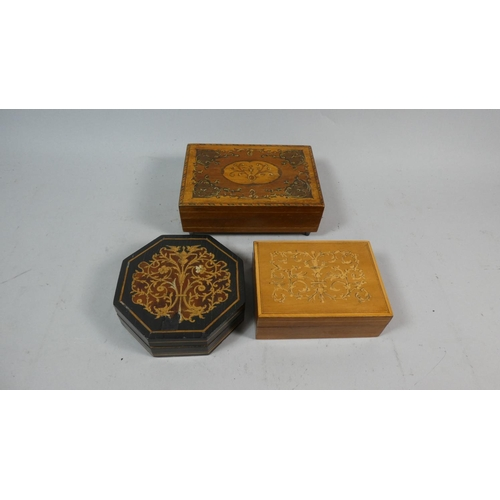18 - A Collection of Three Inlaid Sorento Boxes...