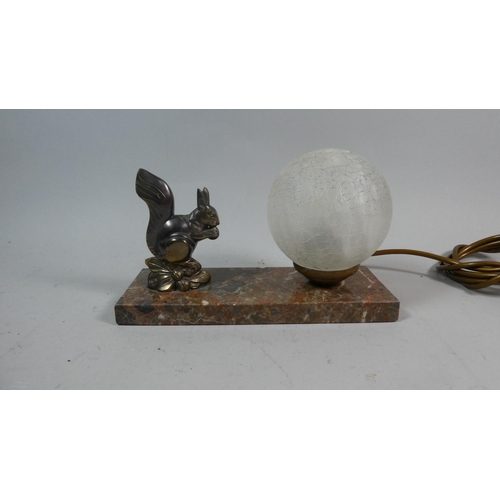 19 - A French Novelty Night Light in the Form of a Squirrel Set on Rectangular Marble Plinth, 22cm Long...