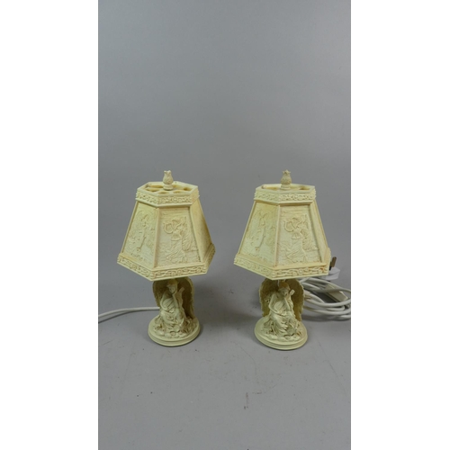 20 - A Pair of Plastic Figural Table Lamps and Shades in the Form of Angels, Each 28cm High...