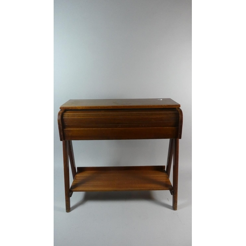23 - A Mid 20th Century Child's Pull Out Roller Shutter Desk, 56cm Wide...