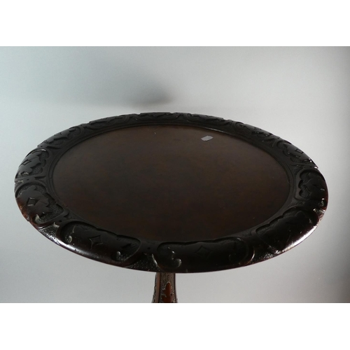 25 - A Nice Quality Late 19th Century Circular Pie Crust Topped Tripod Table in Walnut with Burr Wood Top...