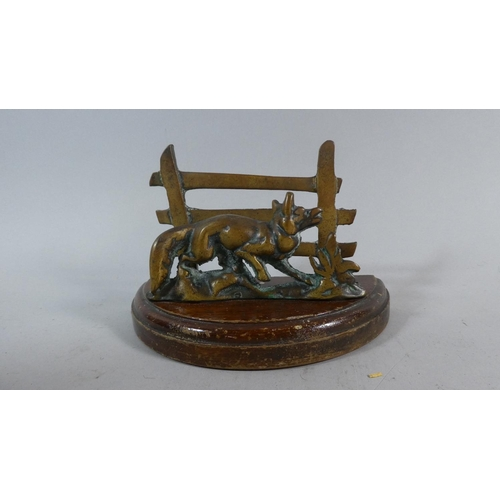3 - A Novelty Letter Holder in the Form of Fox in Front of Wooden Fence, 18cm Long...