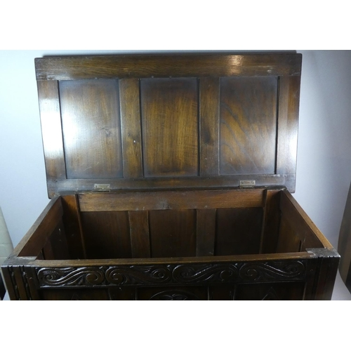33 - An Oak Three Panelled Coffer Chest with Hinged Lid, 84cm Wide...