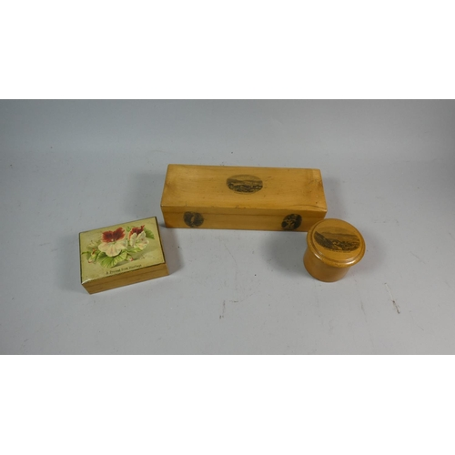 34 - Two Mauchline Ware Wooden Boxes and a Souvenir Example Present from Hastings...