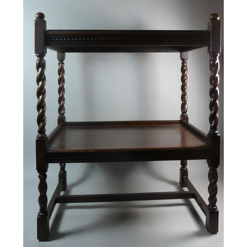 37 - A Barley Twist Two Tier Occasional Table with Galleried Top, Formerly a Trolley, 60.5cm Long...