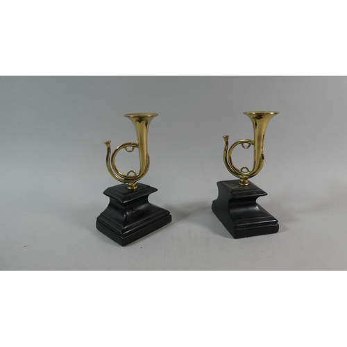 4 - A Pair of Brass models of  French Horns Mounted on Ebonised Plinths, 16.5cm High...