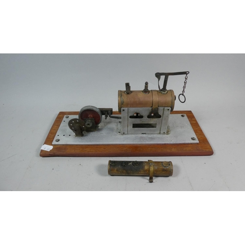 40 - A Vintage Child's Toy Steam Engine on Wooden Plinth, 35cm Long...