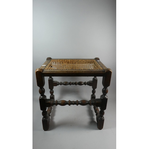 41 - An Edwardian Oak Framed Cane Top Stool in Need of Attention, 44cm Wide...