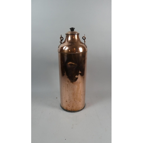 43 - A 19th Century Cylindrical Copper Milk Churn with Wooden Carrying Handle, 43cm High...