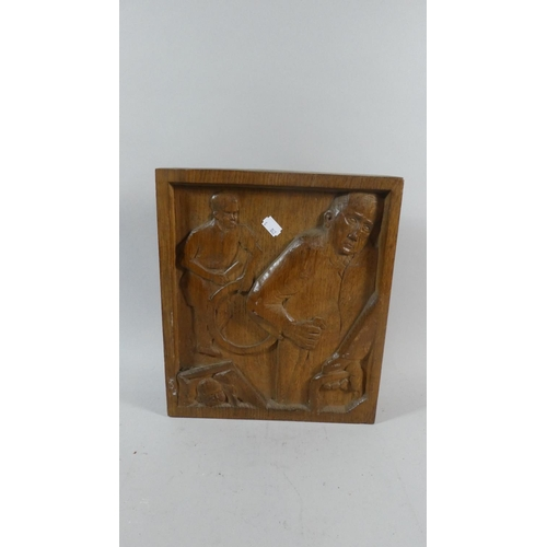 48 - A Mid 20th Century Carved Oak Study of the Progress of Baby to Boy to Old Man, 32cm x 7.5cm...