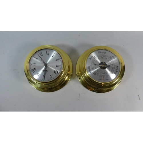 49 - A Pair of Wall Mounting Brass Reproduction Ship's Clock and Barometer, 20cm Diameter...