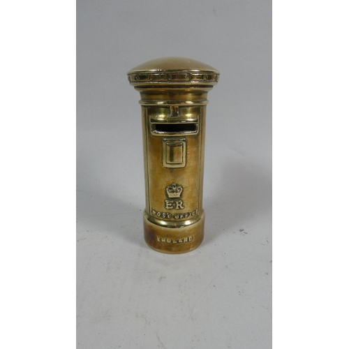 5 - A Brass Novelty Coronation Money Box in the Form of a Post Box, 16cm High...