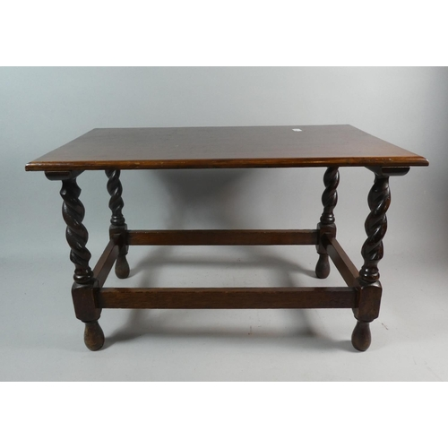 50 - A Small Rectangular Oak Occasional Table with Barley Twist Supports, 53cm Wide...