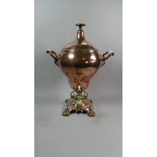 53 - A Victorian Copper Samovar with Brass Tap, Glass Handles, 48cm High...