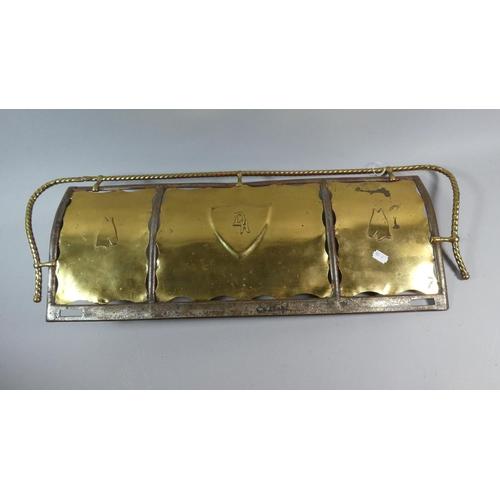 58 - A Handmade Brass and Iron Fire Front Kerb, Monogrammed D H, 75cm Wide...