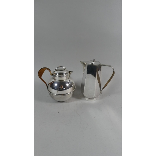 60 - Two Silver Plated Jugs with Raffia Handles...