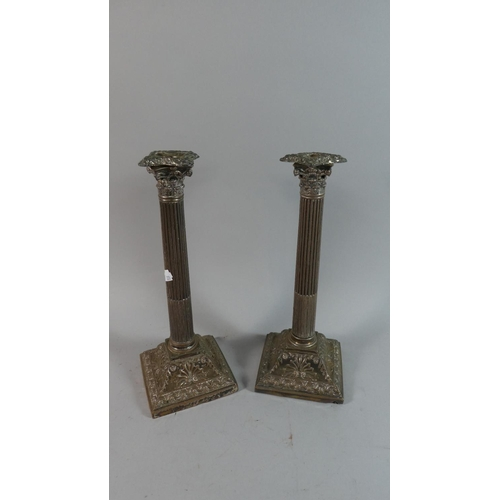 28 - A Pair of Silver Plated Corinthian Column Candle Sticks on Stepped Square Bases, Each 31cm High...