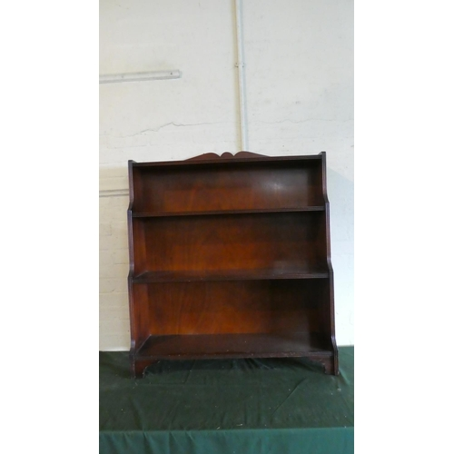 53 - A Mahogany Waterfall Three Shelved Bookcase with Galleried Top, 91.5cm Wide...
